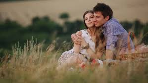 beautiful couple in love at a picnic