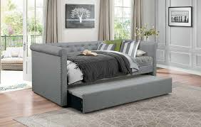 upholstered daybed with trundle. Perfect Trundle Homelegance Edmund Button Tufted Upholstered Daybed With Trundle  Gray Throughout With A