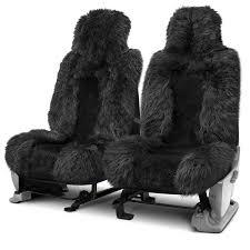 riu long sheared sheepskin black seat cover