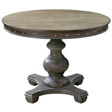 Marius French Country Round Wood Silver Stud Dining Table Kathy In