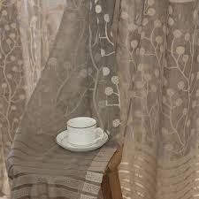 Net Curtains For Living Room 2pcs Jacquard Flower Pattern Net Curtains For Window Elegant
