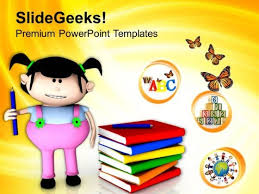 Cute Girl With Books For Study Powerpoint Templates Ppt