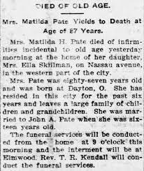 Obituary for Matilda Pate Yields - Newspapers.com