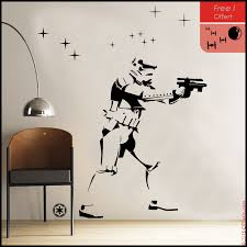 star wars wall decal empire stormtrooper silhouette standing with galaxy stars free