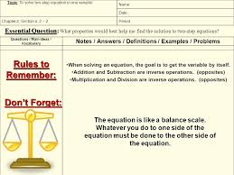 questions main ideas voary notes answers definitions examples problems topic 5 examples of two step equations