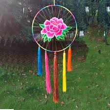 Chinese Dream Catcher 41*41CM Wind Chimes native Chinese element peony big dream catcher 2