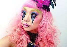 clown makeup blue purple rhinestones pink hair wig