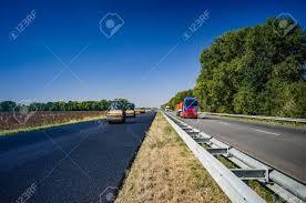 Road Roller Rolls Freshly Laid Asphalt Road Construction
