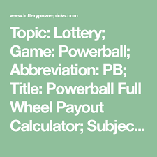Topic Lottery Game Powerball Abbreviation Pb Title
