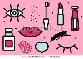 pattern of cosmetics background makeup eyelashes lips mascara stock vector