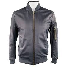 ps by paul smith 42 navy leather gold zip er jacket for