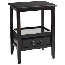 anywhere rubbed black end table with pull handles  pier  imports