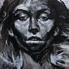black and white female portrait paintings abstract portrait acrylic by anastasiya
