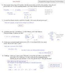 Fraction Story Problems Worksheets Percentage Word Math Percent ...