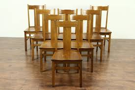 set of 8 arts crafts mission oak antique 1910 craftsman dining chairs