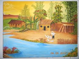 jaya s shades oil painting village scenery