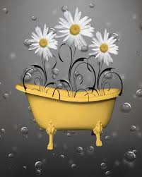 yellow gray daisy flowers bubbles bathroom wall art home decor matted picture