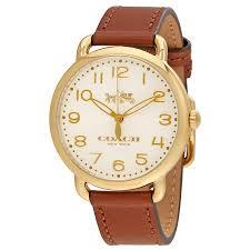 coach delancey white dial las leather watch 14502715