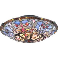stained glass flush mount ceiling light fixtures 2 wide fixture with vintage bronze indoor