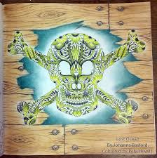 this skull and crosebones from johanna basford s lost ocean colouring book was a slow process i picked the picture to work on with a limited palette