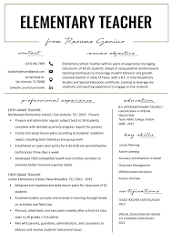 Elementary Teacher Resume Samples Writing Guide Genius First Year