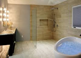 Massage Bathtub With Open Shower Hidden Curbless Drain ...