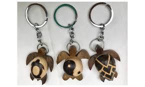 lot of 3 styles burned wood keychains sea turtle hawaiian style fobs groupon