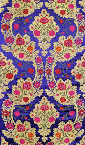 Tibetan Fabric Design Mazarine Blue Tibetan Brocade Fabric From Banaras With Hand