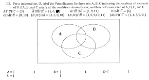 Venn Diagram About Sets Solved Iii For A Universal Set U Label The Venn Diagra