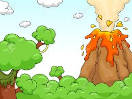 Image result for cartoon volcano erupting.