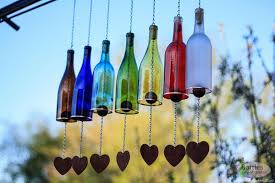 multi colored wine bottle wind chime