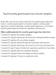 Security Supervisor Resume Inspiration Top 60 Security Guard Supervisor Resume Samples