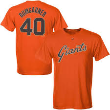 Francisco Name Official Madison Majestic Giants Bumgarner T-shirt Number And Orange San Men's