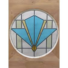 1930 edwardian stained glass exterior door blue art deco