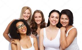 Group of happy different women in white underwear ⬇ Stock Photo, Image by ©  Syda_Productions #108715790