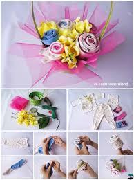 diy baby onesie clothes flower bouquet basket handmade baby shower gift ideas instructions