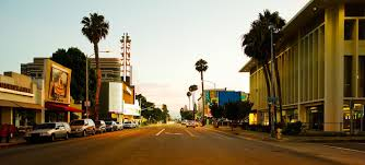 a culver city street at dusk