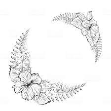 白黒ハイビスカスの花フレーム お絵かきのベクターアート素材や画像を
