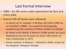 Dream Catcher A Memoir JD Salinger Jerome David Salinger ppt video online download 31
