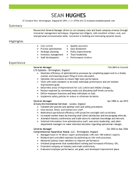 general manager resume example manager resumes samples