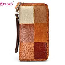 <b>Unisex Genuine Leather Vintage</b> Wallets Color Patchwork Long Day ...