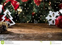 Christmas Table Blurred Lights Background Wood Desk In
