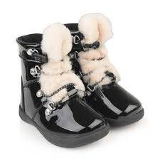 ugg girls black patent leather sheepskin ager boots
