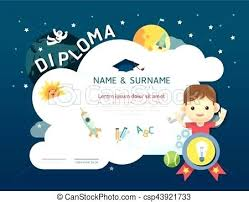 Certificate Kids Diploma Kindergarten Template Layout Space ...