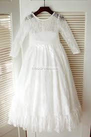 Ivory Long Lace Sleeves Wedding Flower Girl Dress with sash | Misdress