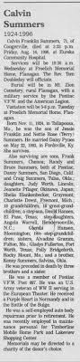 Obituary for Calvin Franklin Summers, 1924-1996 (Aged 71) - Newspapers.com