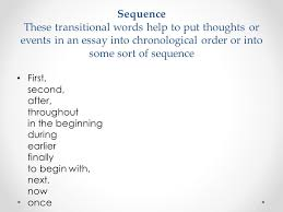 Transition words  showing sequence