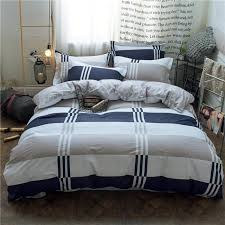 redyoungth 100 cotton 4 piece bedding set with duvet cover flat sheet pillow case reactive print grid 4 6