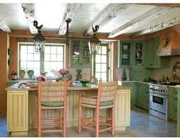 Shabby Chic Kitchen Stylish Kitchen Idea In Green Cabinets With Wood Beam Enhancing