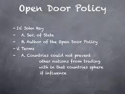 The Open Door Policy YouTube